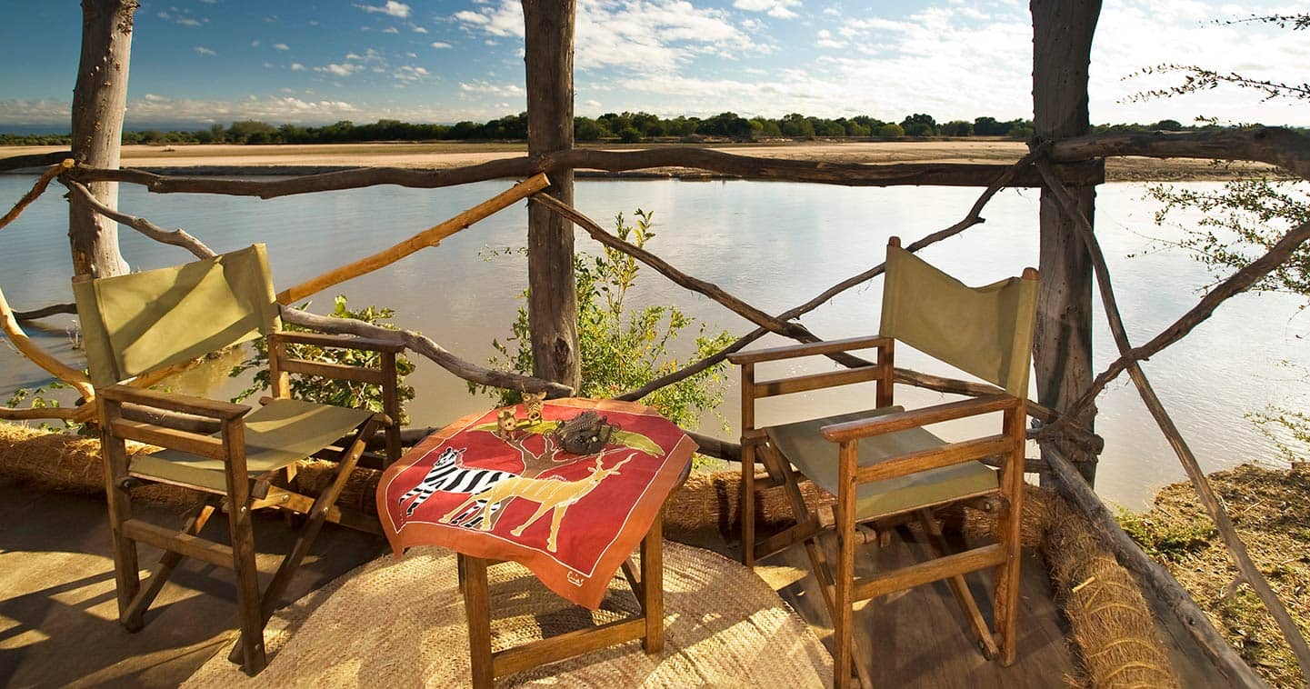 Deck View over the Green Wonderlands at Island Bush Camp in the South Luangwa National Park