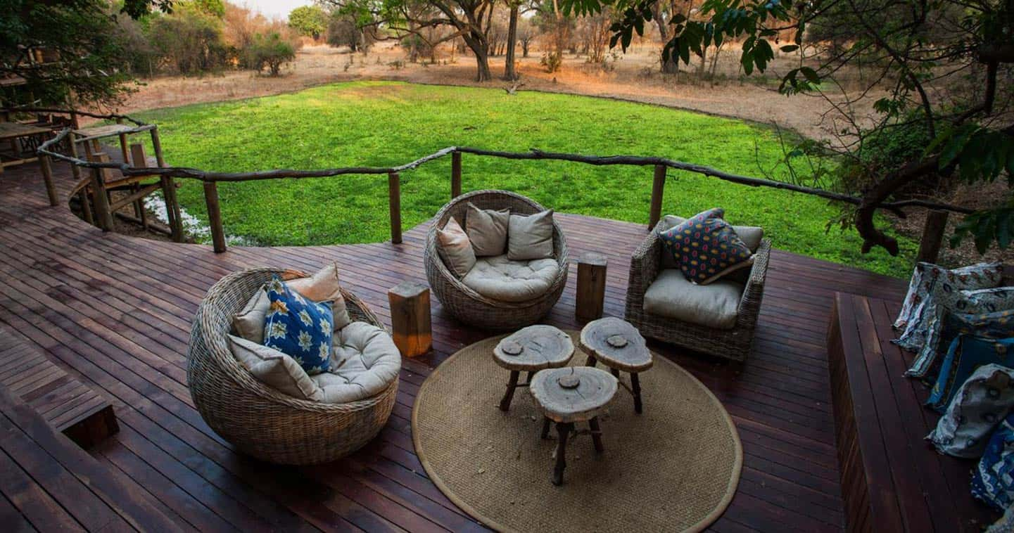 Lounge with View over the Green Wonderlands at Bilimungwe Bush Camp in the South Luangwa National Park