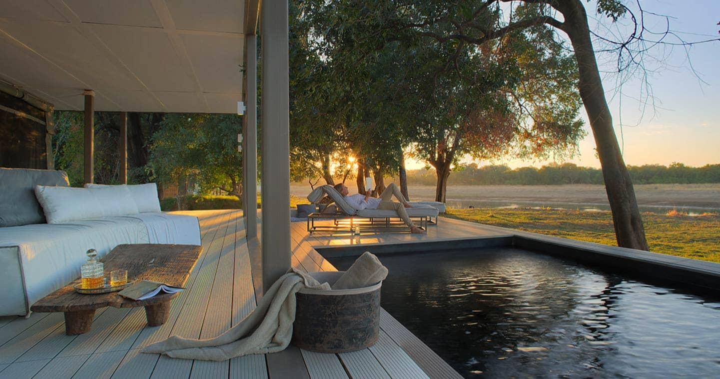 Complete Relaxation at the Pool at Chinzombo in the South Luangwa National Park in Zambia