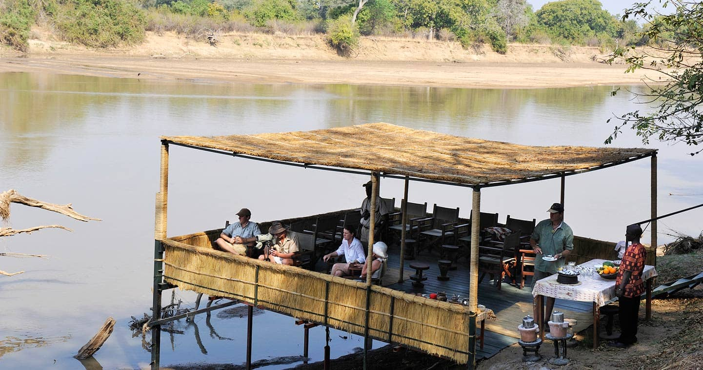 Main deck at Kaingo Camp in Zambia