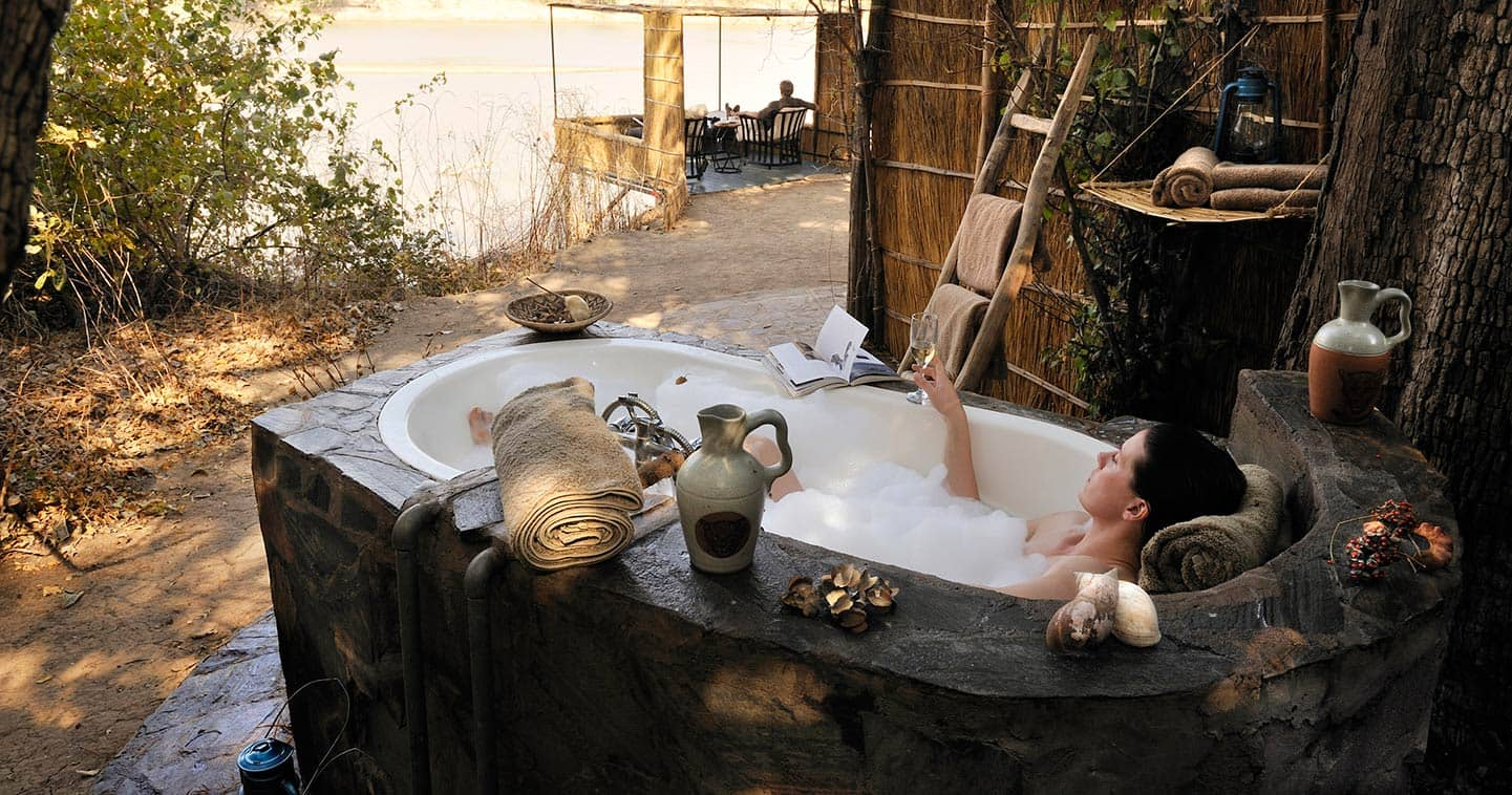 Outdoor bathroom at Kaingo Camp in Zambia