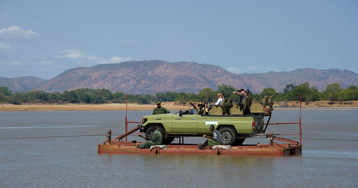Cross the River While on game drive with Flatdogs Camp in South Luangwa National Park