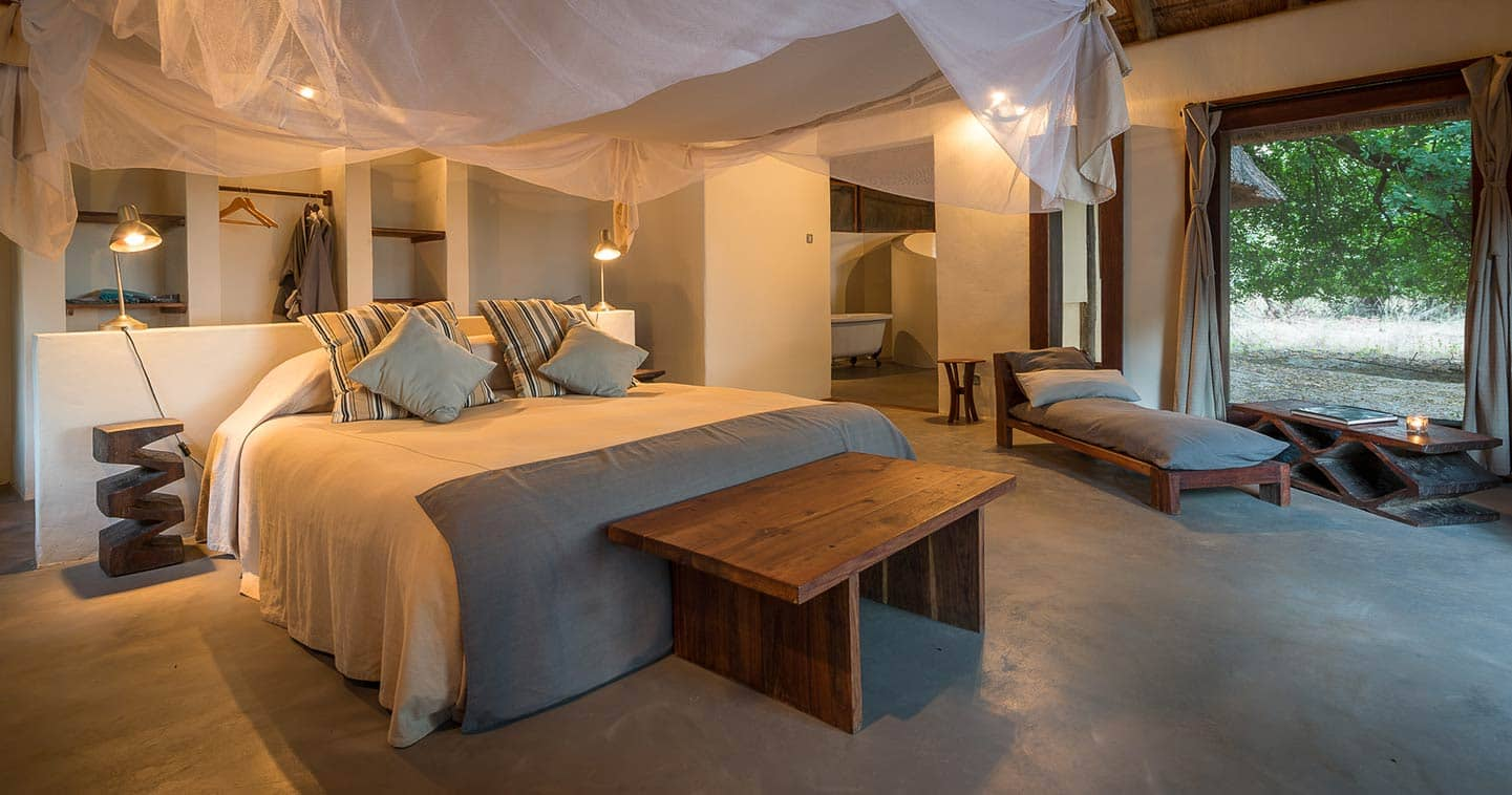 Enjoy the Luxury Bedroom at Luangwa River Camp in the South Luangwa National Park